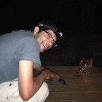 Aniket getting up close and personal with the possum that wanted to share our tent