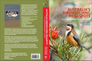 View of Australias Birdwatching Megaspots book cover, showing Eastern Spinebill on front and Hooded Plovers on rear