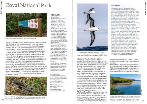 Screenshot of Australia's Birdwatching Megaspots bird book page showing text and images about Royal National Park