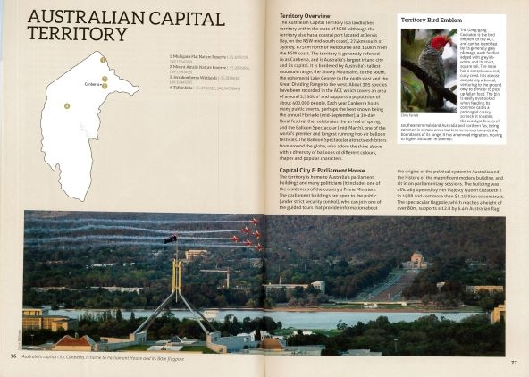 Screenshot of Australia's Birdwatching Megaspots bird book page showing text and images about Australian Capital Territory