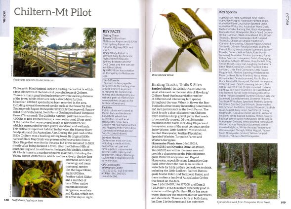 Screenshot of bird book page showing text and images about Chiltern-Mt Pilot Victoria