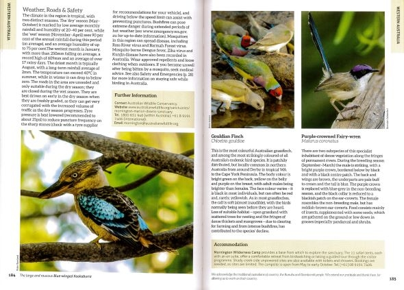 Screenshot of Australia's Birdwatching Megaspots bird book page showing text and images about Mornington Wilderness Sanctuary Western Australia