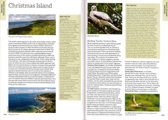 Screenshot of Australia's Birdwatching Megaspots bird book page showing text and images about Christmas Island Australia