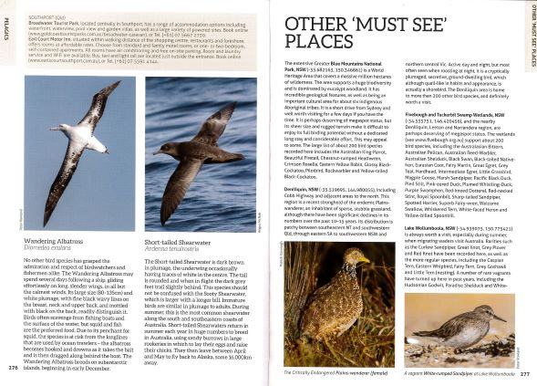 Screenshot of Australia's Birdwatching Megaspots bird book page showing text and images about Australian pelagics